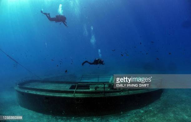 Divers taking part in a project to document shipwrecks in Cyprus with 360 degree images to promote the Mediterranean island as a dive destination for...