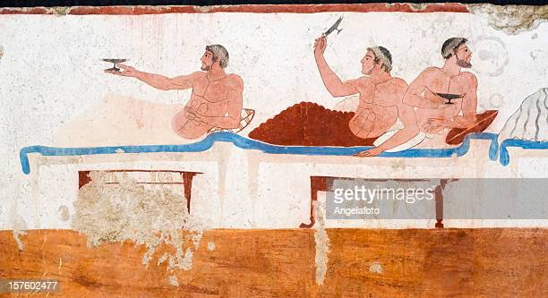 diver's tomb, paestrum from ancient greece - classical greek style stock pictures, royalty-free photos & images