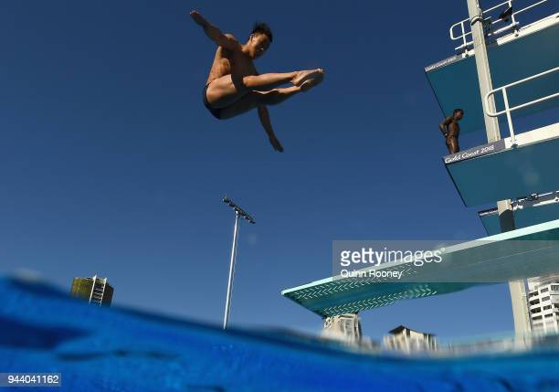 Divers train at the Optus Aquatic Centre on day six of the Gold Coast 2018 Commonwealth Games at Gold Coast Convention and Exhibition Centre on April...