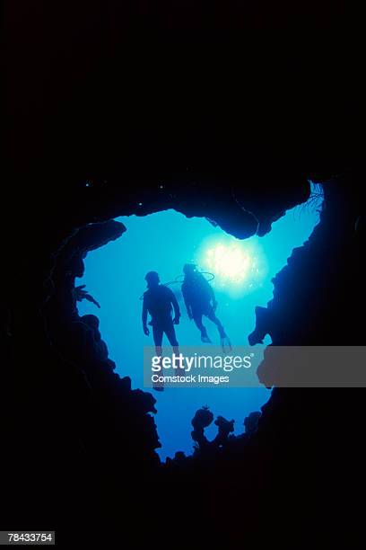 Divers under water