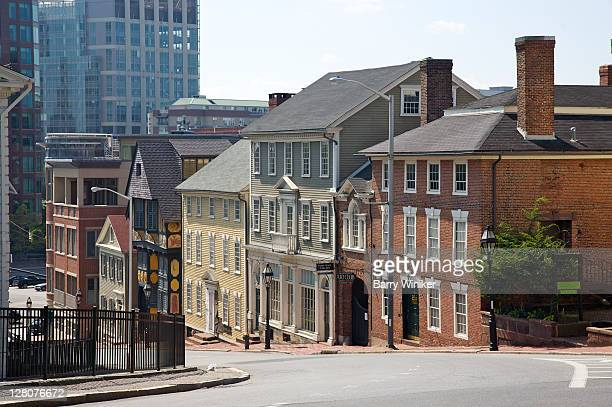 diverse architectural styles on one street in downtown providence, rhode island - rhode island stock pictures, royalty-free photos & images