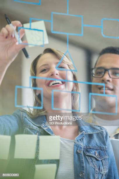 diverse business colleagues write on transparent board - diagramma di flusso foto e immagini stock