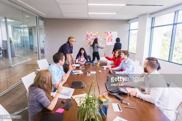 divers business team brainstorm sessie - brainstormen stockfoto's en -beelden