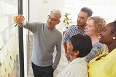 Diverse businesspeople brainstorming with adhesive notes in a meeting
