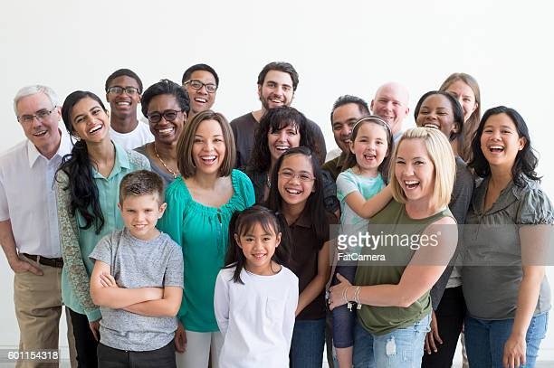 diverse family group - multigenerational family stock photos and pictures