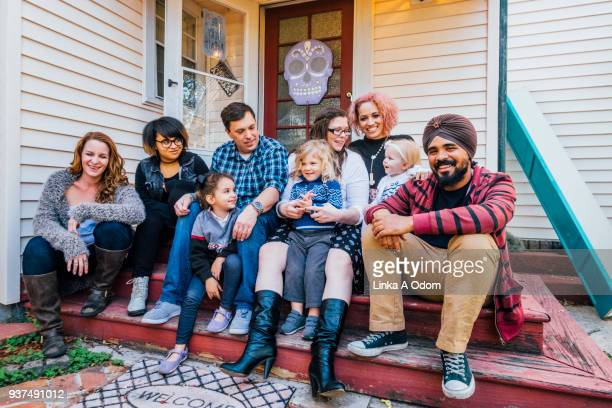 Diverse family hanging out on Front Porch