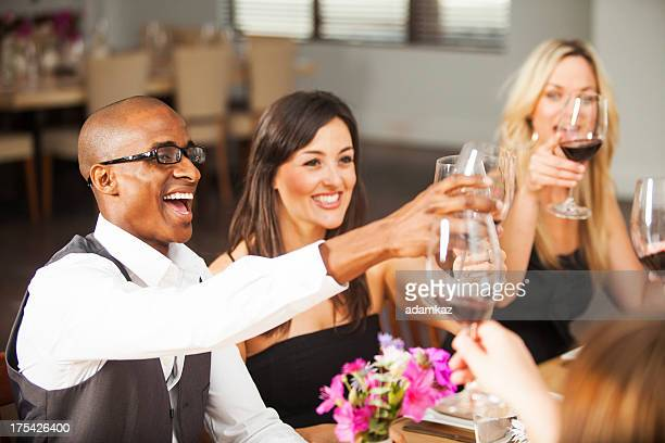Diverse Friends Toasting Glasses