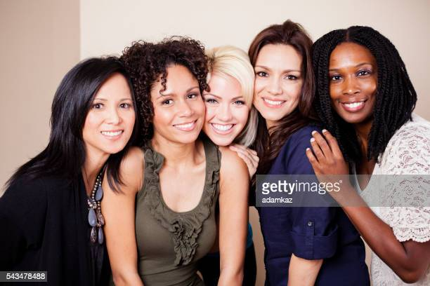 diverse group of attractive girls - only women stock pictures, royalty-free photos & images