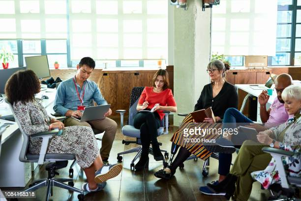 Diverse group of business colleagues in office meeting