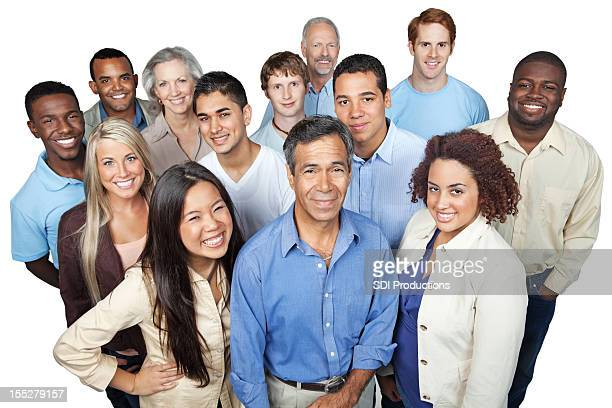 Diverse group of casually dressed business people looking up