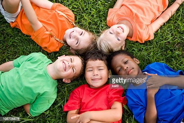 Diverse group of children representing unity, friendship, teamwork, community, hope