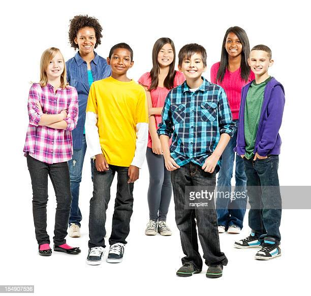 diverse group of children standing together - isolated - pre adolescent child stock pictures, royalty-free photos & images