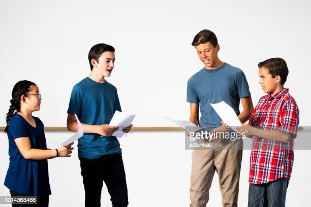 diverse group of drama students practicing play - rehearsal stock pictures, royalty-free photos & images