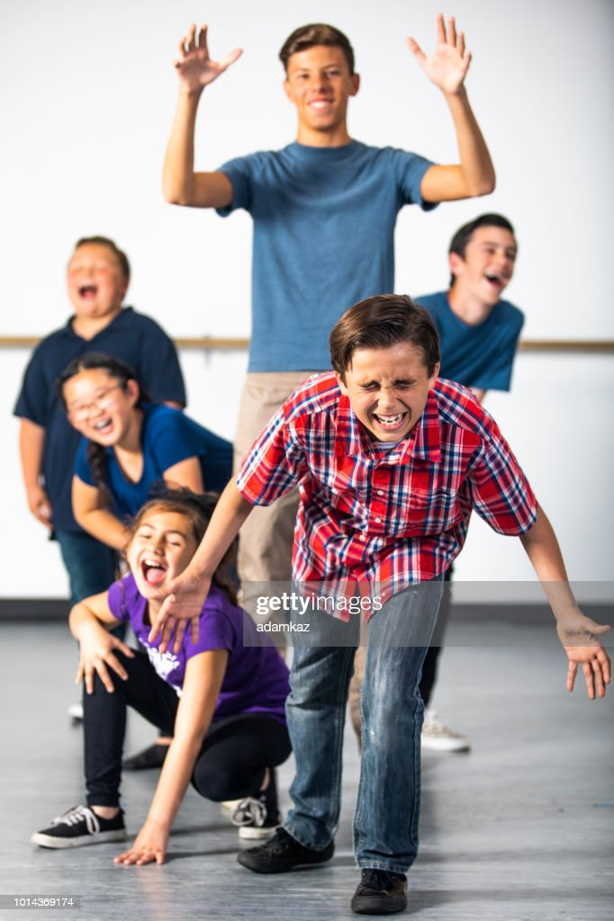 Diverse Group of Drama Students Practicing Play : Stock Photo