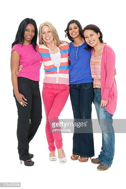 diverse group of female friends - small group of people stock pictures, royalty-free photos & images