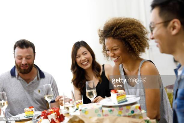 Diverse Group Of Friends Celebrating Birthday