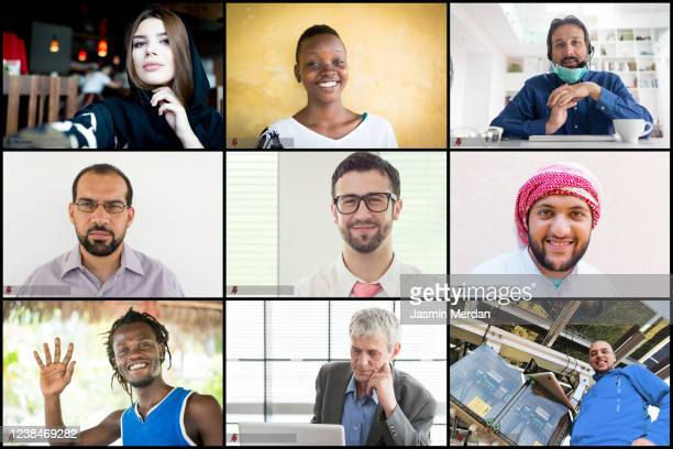 diverse group of friends or colleagues in a video conference on laptop computer screen - diversity stock pictures, royalty-free photos & images