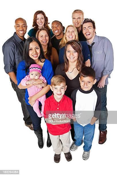 groupe diversifié de gens heureux complet du corps, isolé sur blanc - full body isolated photos et images de collection