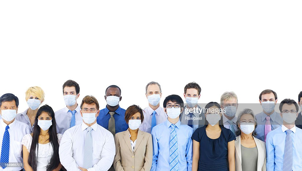 Diverse group of international business people wearing masks. : Stock Photo