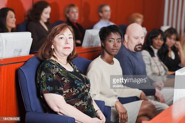 diverse group of jurors - jury box stock pictures, royalty-free photos & images