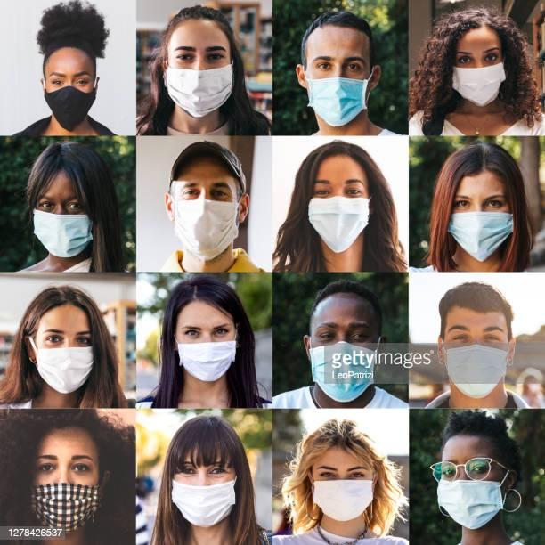 diversi gruppi di ritratti di persone con maschere chirurgiche - quadrato composizione foto e immagini stock