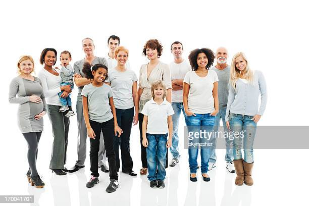 Diverse group of standing people smiling