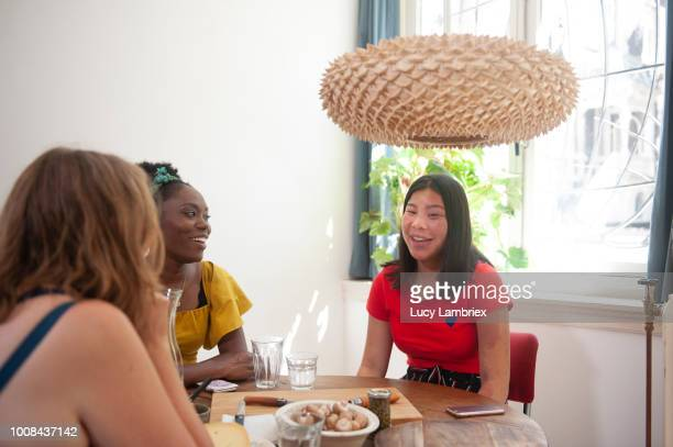 Diverse group of women talking in the kitchen
