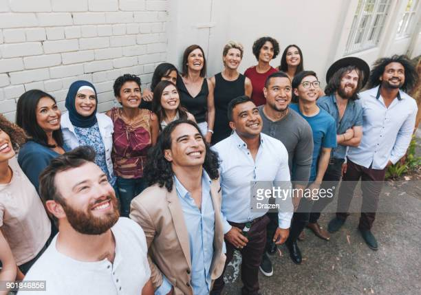 Diverse happy people together on one place