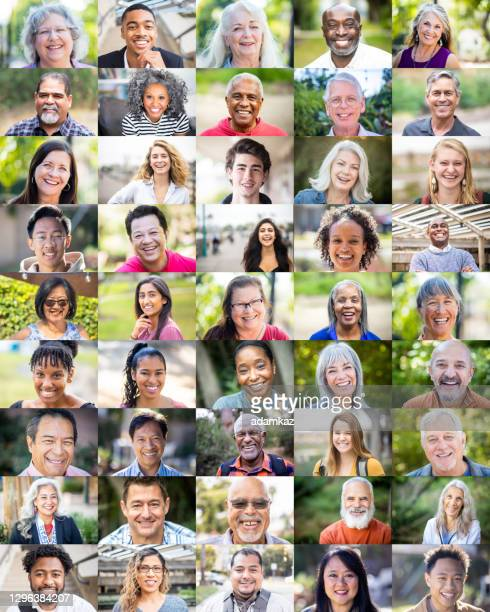 diverse human faces vertical - adamkaz stock pictures, royalty-free photos & images