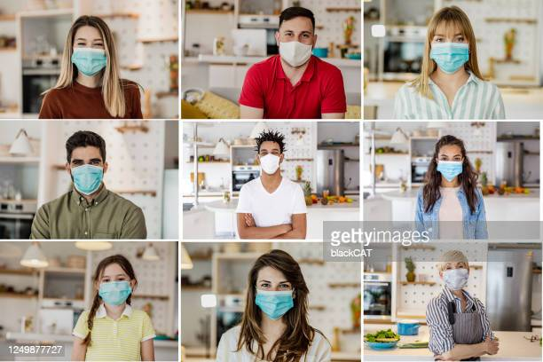diverse human faces with face masks at home - mosaic stock pictures, royalty-free photos & images