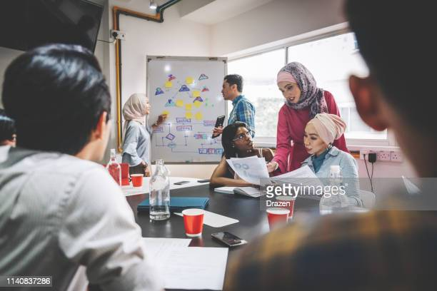 diverse millennial and mature entrepreneurs developing project. - hijab stock pictures, royalty-free photos & images