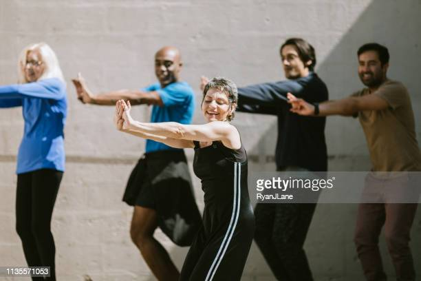 diverse outdoor multigenerational dance class group - dance troupe stock photos and pictures