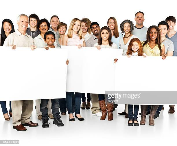 Diverse People (Community) Holding Up Signs