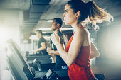 Diverse People Running on Treadmill