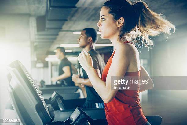 diverse people running on treadmill - gym stock pictures, royalty-free photos & images