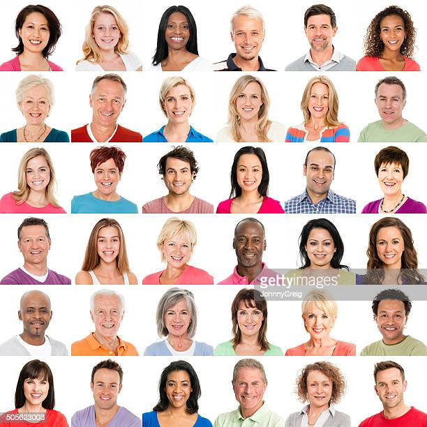 diverse people smiling - image montage stock pictures, royalty-free photos & images