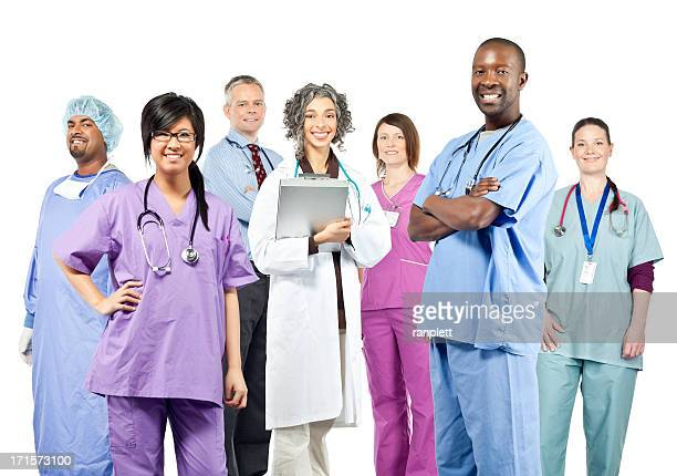Diverse Team of Health Care Professionals (Isolated)