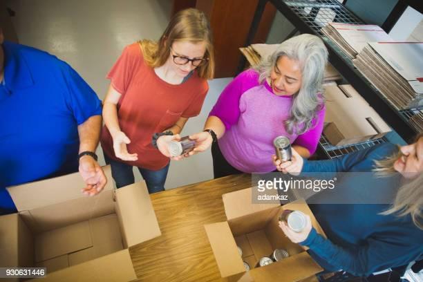 Diverse Team Volunteering Food Drive