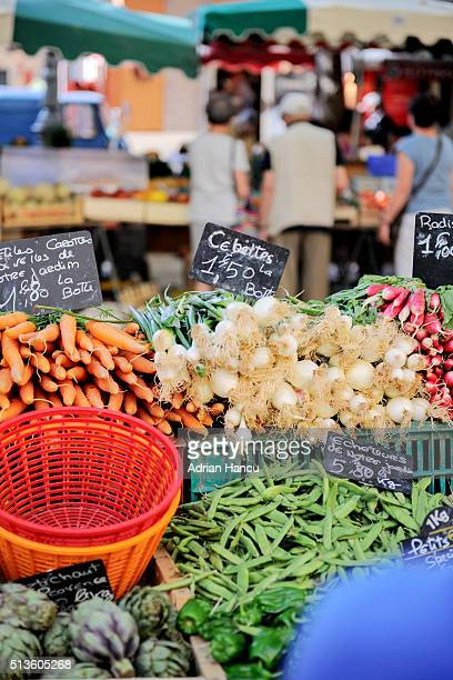 Diverse vegetables the morning market freshly-picked in the iconic Place Richelme