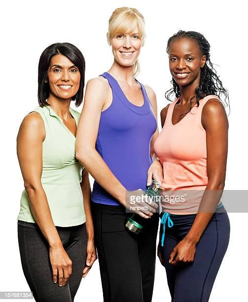 mulheres ecléticas em exercício roupas-isolado - diverse women - fotografias e filmes do acervo