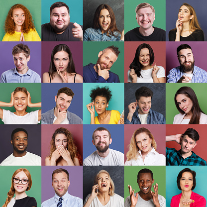 Diverse young people positive and negative emotions set 979130168