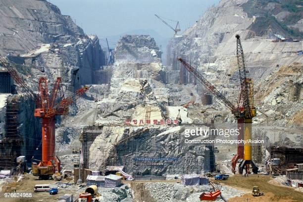 Diversion Canal Cutting at Three Gorges Dam Sandouping Yichang Hubei Province Yangtse River China
