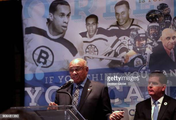 Diversity Ambassador Willie ORee the first black player in the NHL speaks during a ceremony held in his honor at TD Garden in Boston on Jan 17 2018...