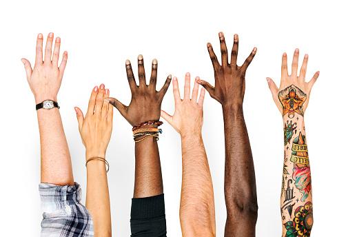 Diversity hands raised up gesture 1024073052
