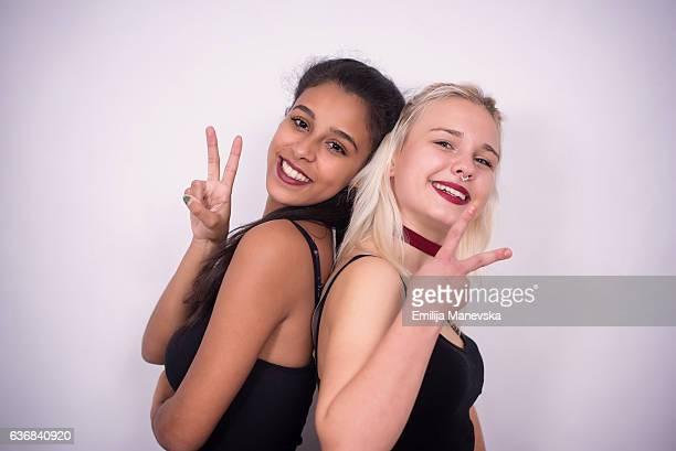 Diversity - Portrait of two cheerful multi ethnic women