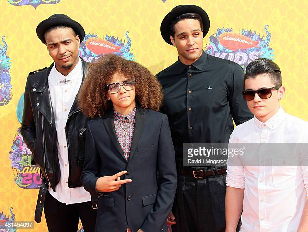 Diversity street dance troupe members Jordan Banjo Perri Kiely Ashley Banjo and Mitchell Craske attend Nickelodeon's 27th Annual Kids' Choice Awards...