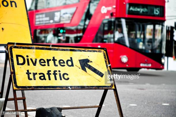 diverted traffic - mattone stock pictures, royalty-free photos & images