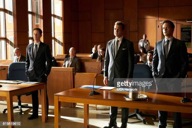 SUITS 'Divide and Conquer' Episode 704 Pictured David Patrick Flemming as Walsh Gabriel Macht as Harvey Specter Patrick J Adams as Michael Ross