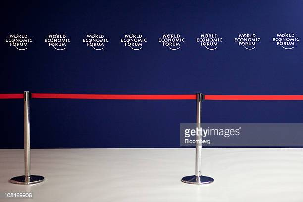 A divider is seen in an entrance area on the third day of the World Economic Forum Annual Meeting 2011 in Davos Switzerland on Friday Jan 28 2011 The...