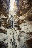 Dividing line, Chahkouh Canyon, Qeshm Island, Persian Gulf, Hormozgan Province, Southern Iran